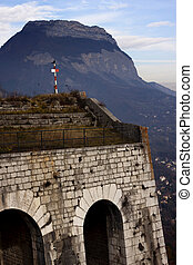 La Bastille castle on the hill at the Grenoble City, France.