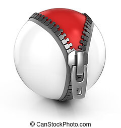 unzipped white ball revealing red ball beneath - 3d...