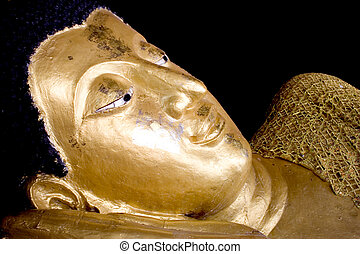 Golden Sleeping Buddha Face, in Thailand