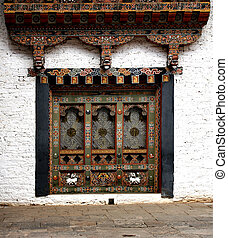 Bhutanese window in the Temple of Bhutan