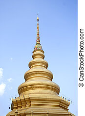 Top of Golden stupa or jedi Thai style