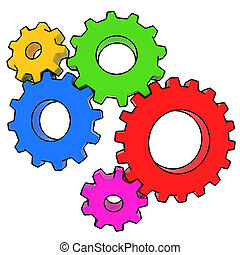 colorful gears on white background 3d illustration