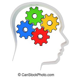 gears instead of brain in the human head 3d illustration