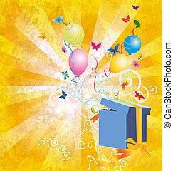 amarela, luz, grunge, backgroynd, PRESENTE, caixa,...