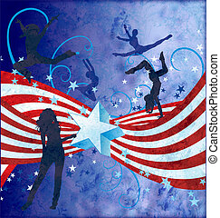 independence day grunge textured illustration with stripes, stars and dancing girl