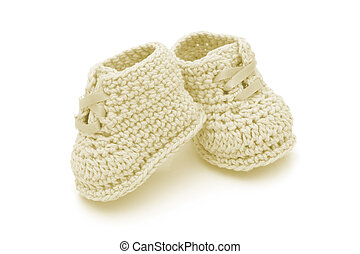 Hand-made baby booties - Yellow crochet baby booties...