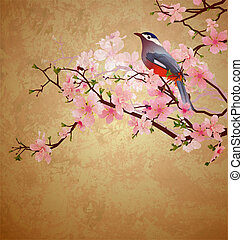 grunge illustration with bird on blossoming tree brunch