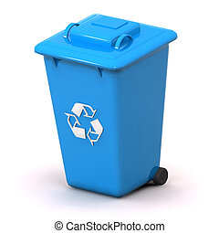 Blue Recycle Bin - A Colourful 3d Rendered Blue Recycle Bin...