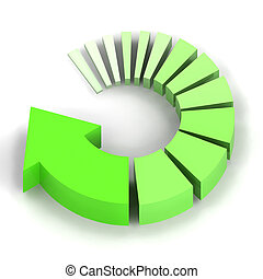 Green Process Arrow - A Colourful 3d Rendered Green Process...