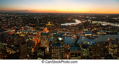 Sydney at night - Darling Harbor viewed from Sydney tower...