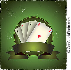 Casino Poker Aces Banner - Illustration of a grunge...