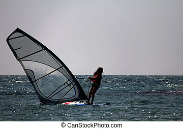 Windsurfing - Windsurfing. After the fall to the water