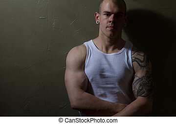 Male athlete - Young male body builder portrait