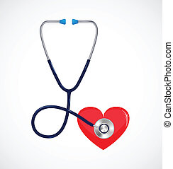 Vector stethosope and heart - Healthcare concept - Vector...