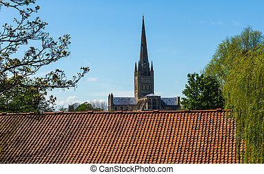 Norwich Cathedral photographed from Riverside Road sitting...