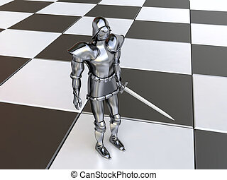 Black Knight on Chessboard - 3D Black Knight after Battle