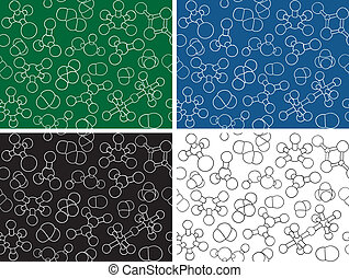 Chemistry background - seamless pattern molecule models,...