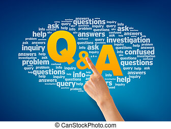 Questions and Answers - Hand pointing at a Question and...
