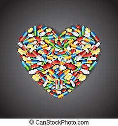 Medical pill forming Heart
