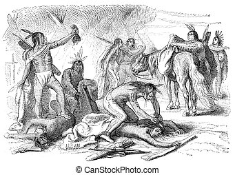 Scalping - Native Americans scalping their enemy. Engraving...