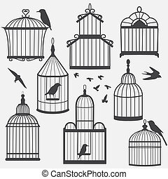 Bird cages silhouette,  illustration