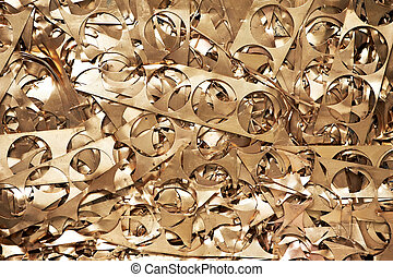 Brass metal scrap materials recycling backround - Yellow...