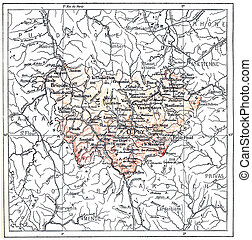 Topographical Map of the Department of Haute-Loire in Auvergne, France, vintage engraved illustration. Dictionary of Words and Things - Larive and Fleury - 1895