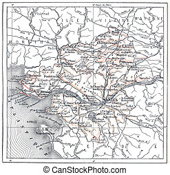 Topographical Map of the Department of Loire-Atlantique in Pays-de-la-Loire, France, vintage engraved illustration. Dictionary of Words and Things - Larive and Fleury - 1895