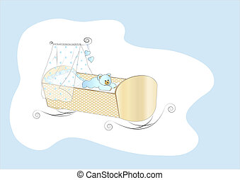 Baby crib in blue - Baby crib for a boy