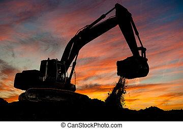 track-type, cargador, excavador, trabajo