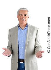 Casual Businessman Gesture Both Hands - Portrait of a casual...