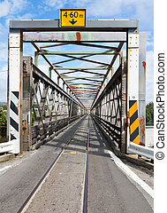 Road-rail bridge - Combined one lane rail and road bridge in...