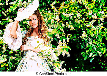 fascinating - Beautiful young woman in medieval era dress on...