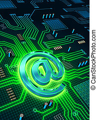 Email circuit - Printed circuit board with a glowing email...