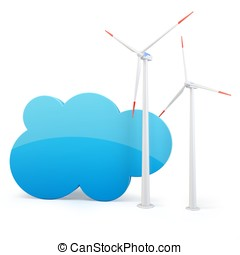 3d cloud computing green power concept