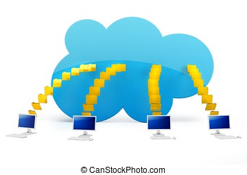 3d cloud computing with terminals on white background