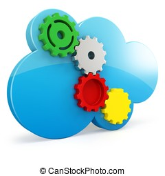 3d cloud computing gears