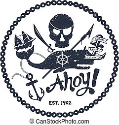 Vintage nautical illustration - Vintage style nautical skull...