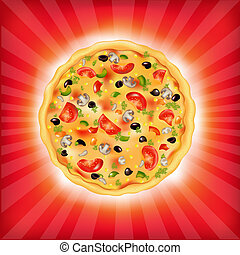 Sunburst Background With Pizza