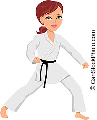 Martial Artist Girl - Illustration of a martial artist young...