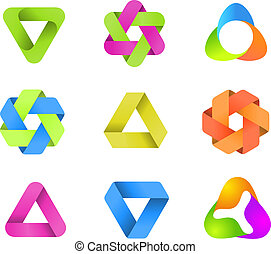 LOGO collection Infinite shapes - Ribbons infinity Star and...