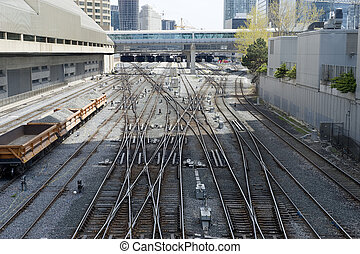 train tracks leading to the station in toronto