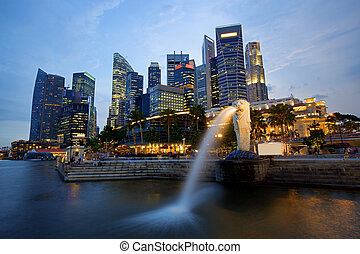 Singapore skyline - Sunset scene from the financial...