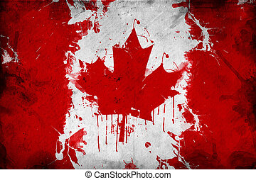 Canada flag - Grunge Canada flag, image is overlaying a...