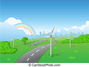 Wind turbines on green grass