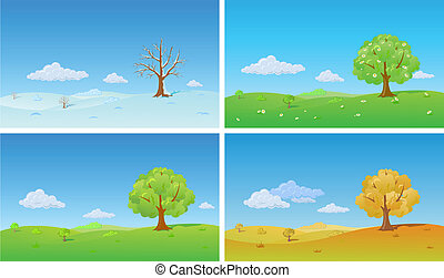 Four seasons. Nature Background - Tree in four seasons:...