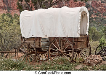 Covered wagon - Nice old covered wagon in Arizona, red rock...