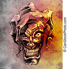 tatouage, croquis, art, sur, clown, Fantasme, sale, fond,...