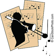 trombone player in silhouette with sheet music in background