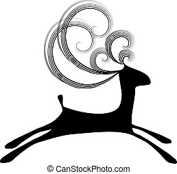Deer curly jumping black - Isolated illustration of simple...